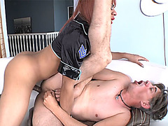 Redhead police shemale anal fucked a slender thief guy