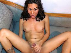 Ladyboy Lanta Strokes Dick Solo