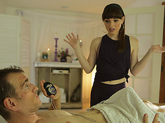 Ts Natalie Mars gives dude a massage and gets her asshole fucked