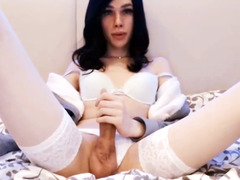 Sweet tgirl Mary jerks big dick on Tgirlcamz.com