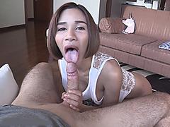 Asian shemale Benty asshole slammed while jerking off