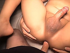 Incredibly hot ladyboy gets a bareback cock in her ass