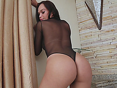 Sexy shemale shows off ass and jerks off her fat dick
