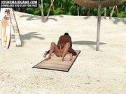 Foxy 3D shemale fucked by ebony stud on a beach
