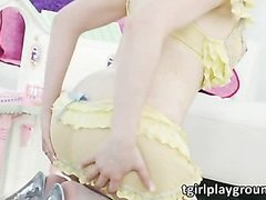 Sexy busty blonde shemale Sarina Valentina gives head and gets anal