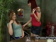 Tranny fucks her redhead girlfriend