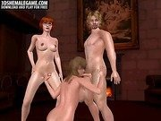 Horny stud getting it on with two sexy 3D sheamles