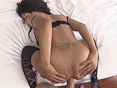 Hot ladyboy with glasses gets her ass fucked bareback