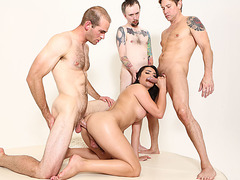 TS Chanel Santini gets her tight ass gangbanged by three guys cock