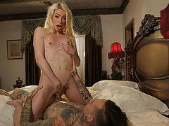 Beautiful TS Sasha have anal sex with tattoed guy Ruckus