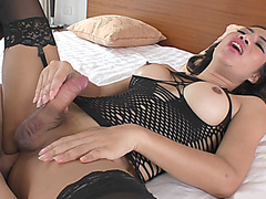 Thai shemale and nasty dude anal pounding each other