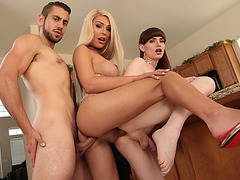 Alluring Ts Chanel Santini and TS Natalie Mars 3way ass fucking