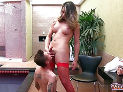 Hot shemale flip flop and creampie