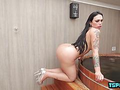 Brazilian shemale ass fuck with cumshot