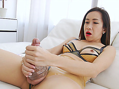 Big juggs shemale fucks her dick with fleshlight sextoy