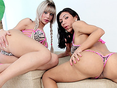 Voluptuous shemale babes Jhenifer and Sabrina fucked by horny stud