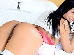Slim transsexual Yasmin Pires enjoys passionate sex with her lover stud