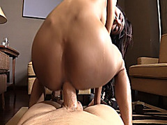Oriental tranny sucks off and gets anal banged bareback
