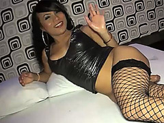 She fucks a guy then gets her ladyboy ass creampied