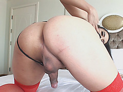 Sexy ladyboy ass fucks by hot tranny while sucking off