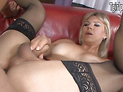 Lora Hoffman gets a visit from a client and blows his dick