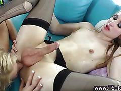 Horny tgirl amateur gets rimjob