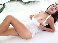 Transababe Asian Quiz always ready for a big hard cock