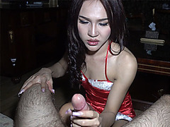 Nasty santa ladyboy shemale played with two strong dicks