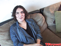 interview tgirl in stockings masturbates