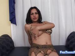 Masturbation porn with tattooed TS bimbo