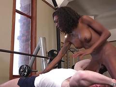 Ebony tranny fucks dude at the gym