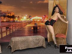 Seductive trans amateur wanks after stripping