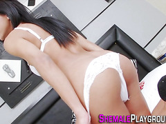Lingerie transexual jerking