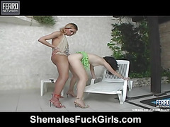 Driely shemale fucks gal action