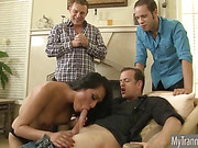 Nasty TS Jessica Fox gets gangbanged and bathe with cumloads