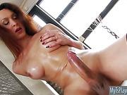 Glamorous shemale Ana Hickiman shows off and masturbates