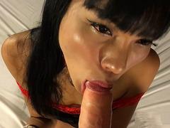Teen Ladyboy Sakura Sucks Dick and Fucked