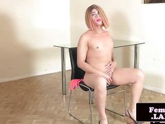Amateur oriental tgirl gets naked for jerk off