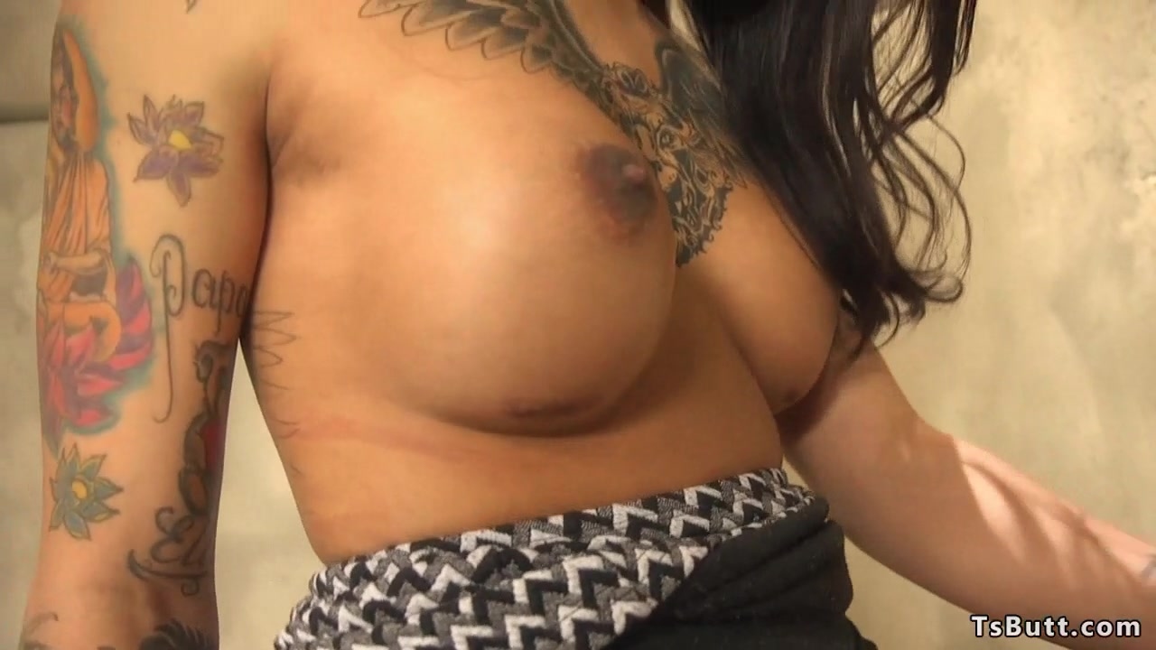Busty tgirl goddess toys ass and jerks solo
