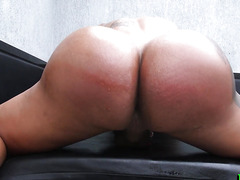Wanking shemale babe bouncing on black cock