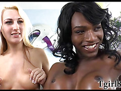 Ebony shemale fucks a petite blonde teen and then gives her a facial cumshot