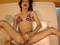 Thai ladiboy in sexy small bikini anal fucked bareback