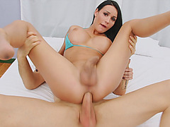 Kinky busty tranny and horny man ass fucking on the bed