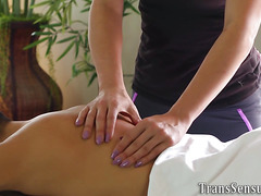 Erotic ts masseuse spunked