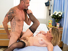 Nurse TS Nikki Vicious gets bang inside her patient Arclyte room