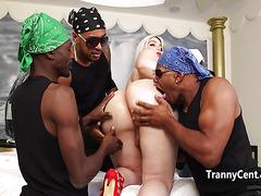 Four black guys gangbanged sheshaft