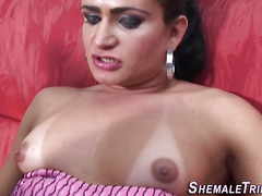 transexual cums males face