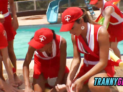 Baywatch trannies get together to gangbang lucky guy�s asshole