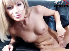 Blonde tgirl jerks dick POVTS.COM webcam