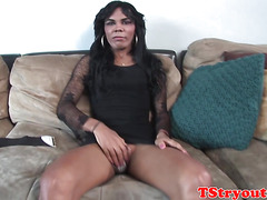 transexual amateur wanking during casting